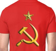 RUSSIA, USSR, Communist, Soviet Union, Hammer & Sickle, GOLD on RED Unisex T-Shirt