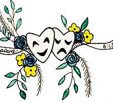 Phil 4:13 Floral Comedy/Tragedy Masks by thejoeylau