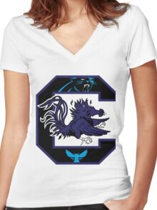 South Carolina Panthers 2 Women's Fitted V-Neck T-Shirt