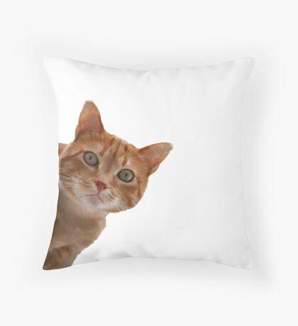 Orange Tabby - Peek-a-boo - Painting Throw Pillow
