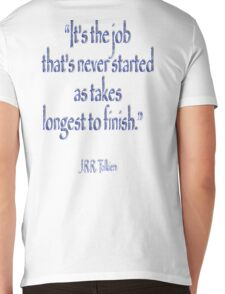 """JRR, Tolkien, """"It's the job that's never started as takes longest to finish."""" Mens V-Neck T-Shirt"""