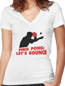 Ping Pong: Let's bounce Women's Fitted V-Neck T-Shirt