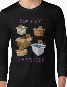 Happiness Cat with Box cute women t-shirt funny cats tee Long Sleeve T-Shirt