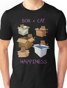 Happiness Cat with Box cute women t-shirt funny cats tee Unisex T-Shirt