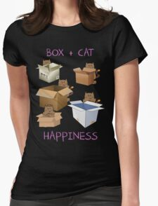 Happiness Cat with Box cute women t-shirt funny cats tee Womens Fitted T-Shirt