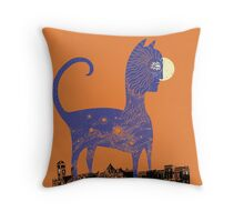 Night Cat owns the City Throw Pillow