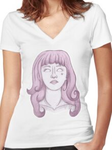 Possessed In Pastel Women's Fitted V-Neck T-Shirt