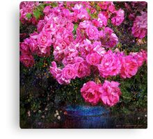 jane's roses with blue jar Canvas Print