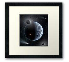 An Earth-like planet made up of silicate-based rocks with oceans coating its surface. Framed Print