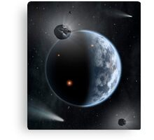 An Earth-like planet made up of silicate-based rocks with oceans coating its surface. Canvas Print