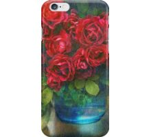 roses in blue jar iPhone Case/Skin