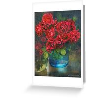 roses in blue jar Greeting Card