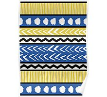 Blue, Yellow and Black Ethnic Pattern Poster