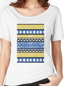 Blue, Yellow and Black Ethnic Pattern Women's Relaxed Fit T-Shirt