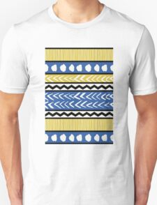 Blue, Yellow and Black Ethnic Pattern T-Shirt