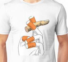 Cigarette hand smoking a finger Unisex T-Shirt
