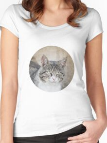 Retro Cat Women's Fitted Scoop T-Shirt