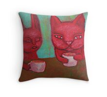 Cat Cafe Throw Pillow