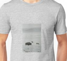 Wolves Watch the Winter Bison Unisex T-Shirt
