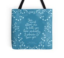Jane Austen Pride and Prejudice Floral Love Quote Tote Bag