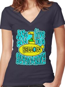 YELLOW SUBMARINE Women's Fitted V-Neck T-Shirt