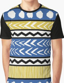 Blue, Yellow and Black Ethnic Pattern Graphic T-Shirt