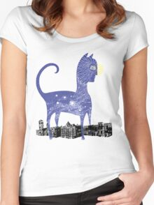 Night Cat owns the City Women's Fitted Scoop T-Shirt