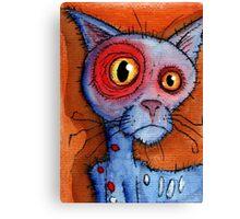 blue zombie cat Canvas Print