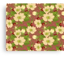 Seamless Background Wild Rose Rosehip Canvas Print