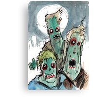 3 sad zombies Canvas Print
