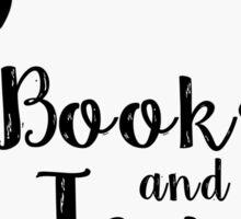 Books and Tea (B&W)(intervted) Sticker