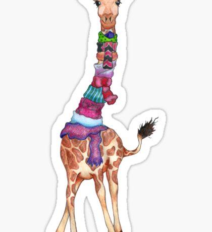 Cold Outside - Cute Giraffe Illustration Sticker