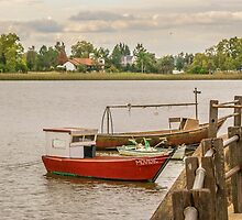 Fishing Boats at Santa Lucia River in Montevideo, Uruguay by DFLC Prints