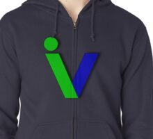 V green and blue Zipped Hoodie