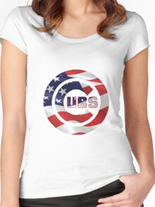 Cubs Flag Women's Fitted Scoop T-Shirt
