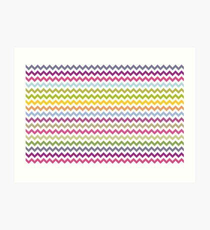 Multi-colored zig zag Art Print