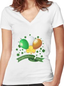 Saint Patricks Day Greeting theme Women's Fitted V-Neck T-Shirt