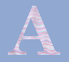 Initial A Rose Quartz And Serenity Pink Blue Wavy Lines by theartofvikki