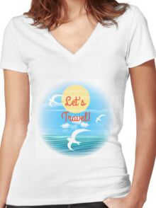 Travel theme Women's Fitted V-Neck T-Shirt
