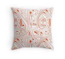 Seamless hand drawing pattern of city Throw Pillow