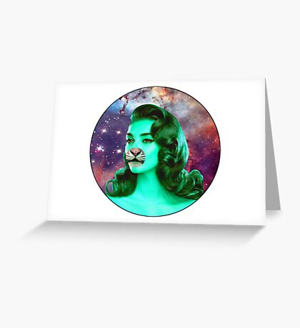 Psychedelic Tiger Pin Up Greeting Card
