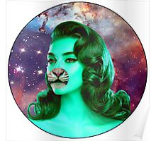 Psychedelic Tiger Pin Up Poster