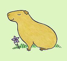 Capybara with Purple Flower  by zoel