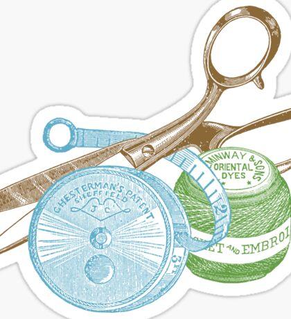 antique typographic vintage sewing kit Sticker