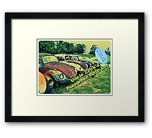 """Uncle Zeek's Preowned Auto Lot""... prints and products Framed Print"
