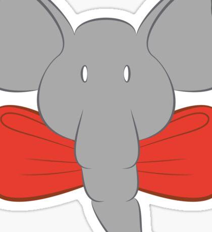 Red Bow Toon Elephant Sticker