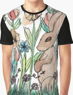 Rabbit Surrounded by Flowers Graphic T-Shirt