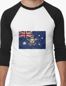 Royal Australian Air Force - RAAF Badge over Australian Flag Men's Baseball ¾ T-Shirt