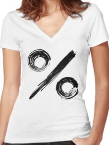 Percentage Sign - Black Edition Women's Fitted V-Neck T-Shirt