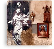 Naples, Italy Graffiti Angel Canvas Print